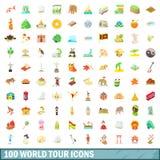 100 geplaatste pictogrammen van de wereldreis, beeldverhaalstijl Stock Afbeeldingen