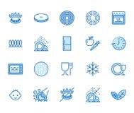 Geplaatste pictogrammen van de werktuig de vlakke lijn Gasfornuis, inductiefornuis, ceramische haardplaat, non-stick deklaag, mic vector illustratie