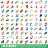 100 geplaatste pictogrammen van DJ, isometrische 3d stijl Stock Afbeeldingen