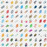 100 geplaatste pictogrammen van DJ, isometrische 3d stijl Stock Foto