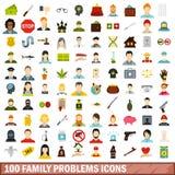 100 geplaatste pictogrammen van familieproblemen, vlakke stijl Stock Foto