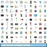 100 geplaatste pictogrammen van het aanrakingsscherm, beeldverhaalstijl Royalty-vrije Stock Afbeelding