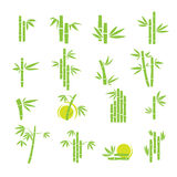 Geplaatste pictogrammen van het bamboe de vectorsymbool Royalty-vrije Stock Foto