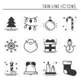 Geplaatste pictogrammen van het de lijnsilhouet van de Kerstmisvakantie de dunne Het overzichtsinzameling van de nieuwjaarviering royalty-vrije illustratie