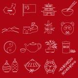 Geplaatste pictogrammen van het het thema de rode en witte overzicht van China Stock Afbeeldingen
