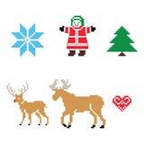 Geplaatste pictogrammen van het Kerstmis de noordse patroon Stock Foto's
