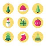 Geplaatste pictogrammen van het Kerstmis de vlakke ontwerp Royalty-vrije Stock Afbeeldingen