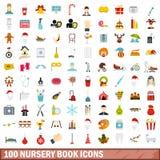100 geplaatste pictogrammen van het kinderdagverblijfboek, vlakke stijl Stock Fotografie