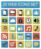 Geplaatste pictogrammen van het kleuren de vlakke Web Royalty-vrije Stock Afbeeldingen