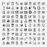 100 geplaatste pictogrammen van het krabbelweb Royalty-vrije Stock Afbeeldingen