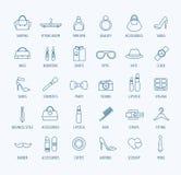 Geplaatste pictogrammen van het manier de vectorembleem Stijl, kleding of Stock Afbeelding