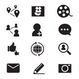 Geplaatste pictogrammen van het silhouet de Sociale netwerk Royalty-vrije Stock Afbeeldingen