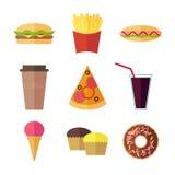 Geplaatste pictogrammen van het snel voedsel de kleurrijke vlakke ontwerp Stock Fotografie