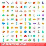 100 geplaatste pictogrammen van het sportteam, beeldverhaalstijl Royalty-vrije Stock Fotografie