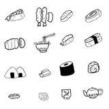 Geplaatste pictogrammen van het sushi de Japanse voedsel Stock Afbeelding
