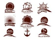 Geplaatste pictogrammen van het zon en de overzeese embleem stock illustratie