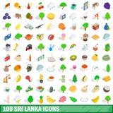 100 geplaatste pictogrammen van Sri Lanka, isometrische 3d stijl Stock Foto