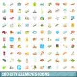 100 geplaatste pictogrammen van stadselementen, beeldverhaalstijl Stock Afbeelding