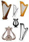 Geplaatste pictogrammen van Stringed de muzikale instrumenten stock illustratie
