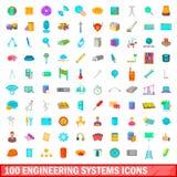 100 geplaatste pictogrammen van technieksystemen, beeldverhaalstijl Stock Afbeeldingen