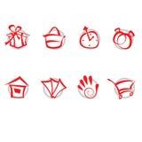 Geplaatste pictogrammen - winkelend Stock Fotografie