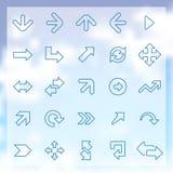 25 geplaatste pijlenpictogrammen Stock Afbeelding