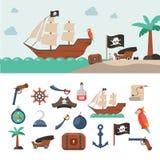Geplaatste piraatpictogrammen Royalty-vrije Stock Afbeeldingen