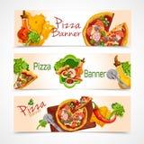 Geplaatste pizzabanners Stock Fotografie