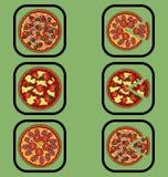 Geplaatste pizzapictogrammen Royalty-vrije Stock Afbeeldingen