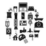 Geplaatste plaatsingspictogrammen, eenvoudige stijl Stock Foto