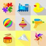 Geplaatste Playthingspictogrammen, beeldverhaalstijl stock illustratie