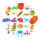 Geplaatste Playthingspictogrammen, beeldverhaalstijl vector illustratie