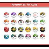 Geplaatste Pokemonpictogrammen Royalty-vrije Stock Afbeeldingen