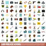 100 geplaatste politiepictogrammen, vlakke stijl Stock Illustratie