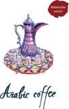 Geplaatste pot en de koppen van de waterverf de Arabische Koffie Royalty-vrije Stock Afbeelding