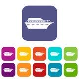 Geplaatste Powerboatpictogrammen royalty-vrije illustratie