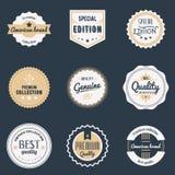 Geplaatste premiekwaliteitslabels De elementen, de emblemen, het embleem, de kentekens en de stickers van het merkenontwerp Vecto Stock Foto's