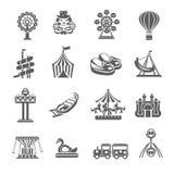 Geplaatste Pretparkpictogrammen Royalty-vrije Stock Afbeeldingen