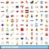 100 geplaatste pretpictogrammen, beeldverhaalstijl Stock Foto's