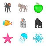 Geplaatste primaatpictogrammen, beeldverhaalstijl vector illustratie