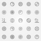 Geplaatste radarpictogrammen Stock Fotografie