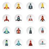 Geplaatste raketpictogrammen, vlakke stijl Royalty-vrije Stock Foto's