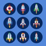 Geplaatste rakettenpictogrammen Stock Afbeelding