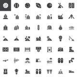 Geplaatste recreatie vectorpictogrammen royalty-vrije illustratie