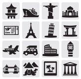 Geplaatste reis en oriëntatiepunten Stock Foto's