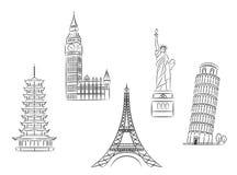 Geplaatste reisoriëntatiepunten vector illustratie
