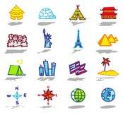 geplaatste reispictogrammen Stock Foto
