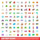 100 geplaatste reispictogrammen, beeldverhaalstijl Royalty-vrije Stock Fotografie