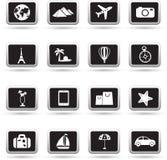 Geplaatste reispictogrammen, vector Stock Foto's
