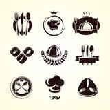Geplaatste restaurantetiketten. Vector vector illustratie